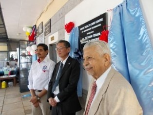 Dr. Kumar, H.E.Terada and Dr. Prakash Patel (the Founder Member) at the 10th Anniversary's plaque