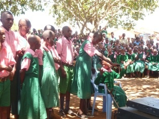 Lungulueni Primary School Pupils expressing joy by dancing and performances