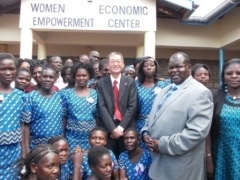 Members of Economic Empowerment Centre for Women with H.E. Terada and Hon. Mr. Cyprian Awiti, Homa Bay County Governor