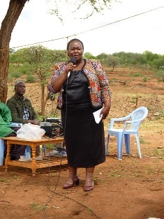 Mrs Joyce Mwende, Member of County Assembly, while giving her speech