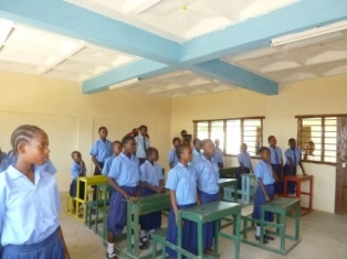 Newly built Primary classroom and pupils.