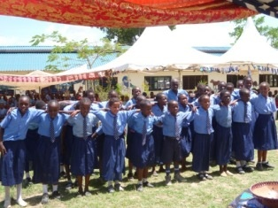 Pupils of St Joseph give a presentation to express joy for having new classrooms.