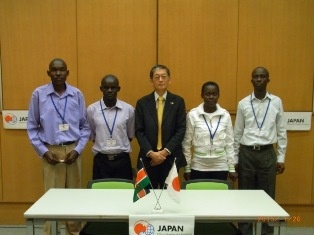 H.E.  Mr Terada, Ambassador of Japan to the Republic of Kenya, with the representatives of Arise and Shine Care Centre (Project : Expansion of Ramula Community Dispensary)