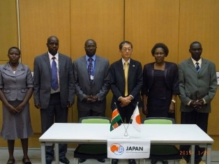 H.E.  Mr Terada, Ambassador of Japan to the Republic of Kenya and Hon. Prof. Hellen Sambili , Mogotio Area MP, with the representatives of Oldebes Secondary School (Project : Construction of Girls' Dormitory and Expansion of Oldebes Secondary School)