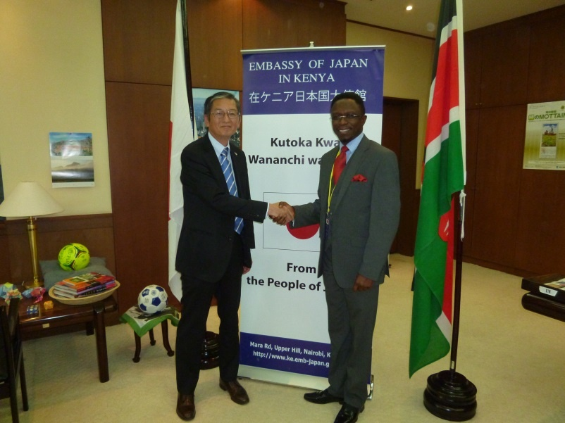 Ambassador Terada and Hon. Ababu Namwamba shaking hands.