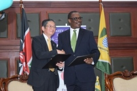 H.E. Mr. Tatsushi Terada and H.E. Dr. Evans Kidero shaking hands after the grant contract signing ceremony